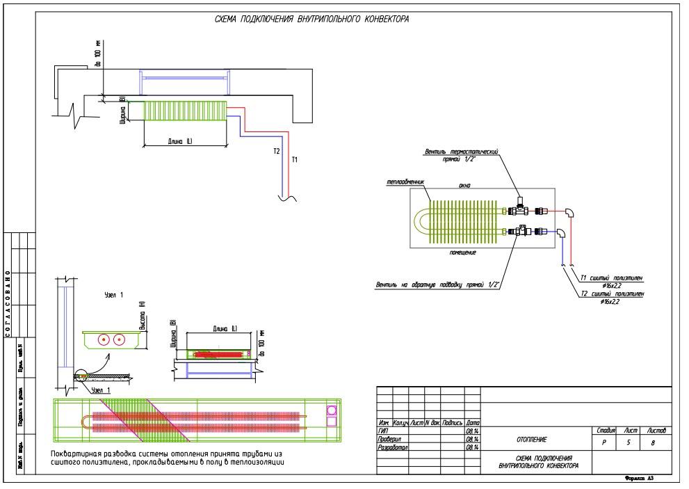 Схема подключения конвектора отопления